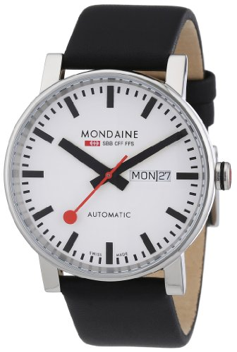 Mondaine-Mens-Automatic-Watch-with-White-Dial-Analogue-Display-and-Black-Leather-Strap