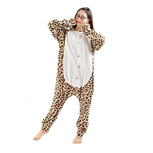Casa- Kigurumi Adulte Unisexe Anime Animal Costume Cosplay Combinaison Pyjama Outfit Nuit Vêtements Onesie Cosplay Costume Leopard Ours S