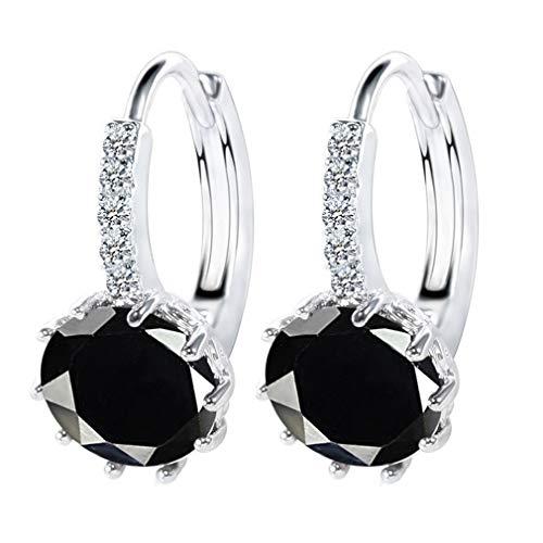 Wiftly 1 Paar Zirkon Mädchen Ohrring Silber 925 9Viele Farben Ohrringe mit Kristallen von - Schön Ohrringe Damen Ohrhänger - Wunderbare Ohrringe mit Schmuckbox (Schwarz)