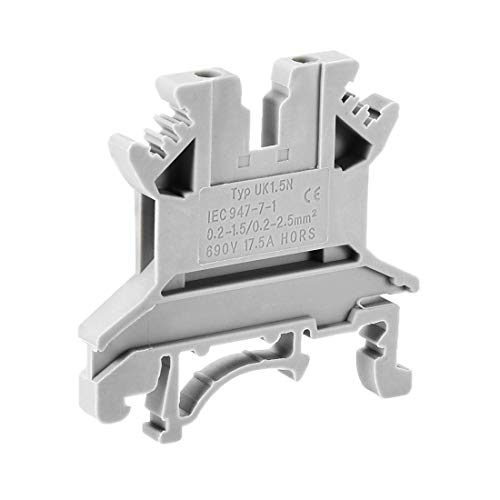 ZCHXD UK-1.5N DIN Rail Terminal Block Screw Clamp Connector, 690V 17.5A Gray for 24-16 AWG, 25 Pcs Gray Terminal