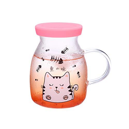Erjialiu Niedlichen Cartoon Milch Becher Gürtel Glas Damen Und Kinder Frühstück Tasse Mikrowelle Heizung Hohe Temperatur Haus Wasser Tasse,Rosa,350ML - Heizung Wasser Mikrowelle