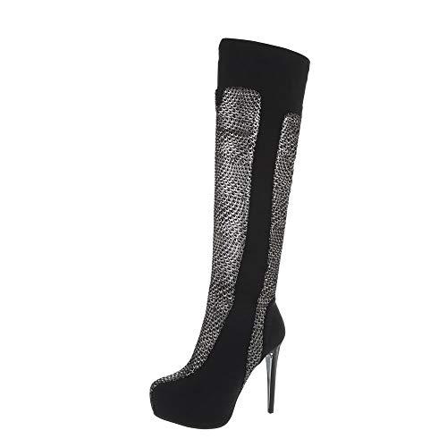 Ital-Design Damenschuhe Stiefel Overknees Synthetik Schwarz Silber Gr. 38