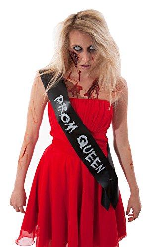 ZOMBIE PROM QUEEN SASH billige Halloween-Kostüm OUTFIT IDEA BLACK