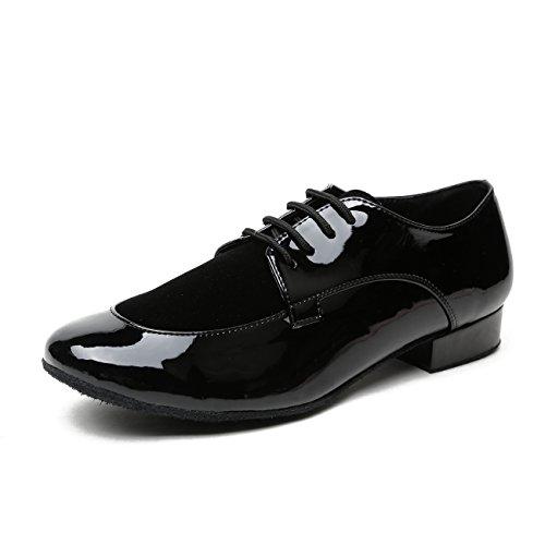 Minitoo - Comode scarpe da uomo ideali per il ballo da sala o i balli latino americani, in pelle, modello JF250501, Nero (Synthetic/Suede-Black), 38,5 EU