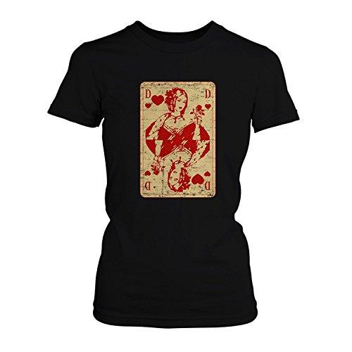 Fashionalarm Damen T-Shirt - Queen of Hearts | Fun Shirt als Valentinstag Jahrestag Geschenk Idee für verliebte Paare & Kartenspielerinnen Schwarz