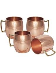 Terashopee Juego de 4 tazas de cobre sólido para Moscow Mules, 550ml/18oz–100% puro cobre de acabado lacado