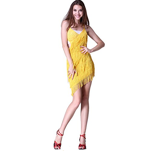 Damen Latin Dance Pailletten Fransen Kleid Ballsaal Rock Standard ...