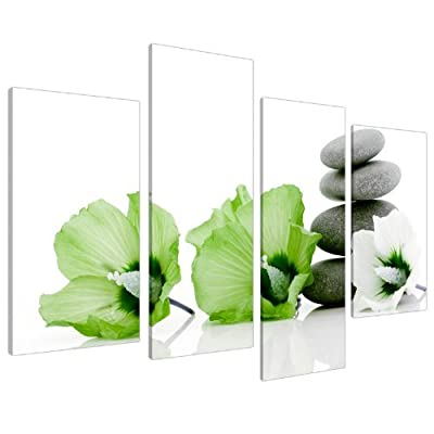 Lime Green Flower Floral Canvas Wall Art Pictures 130cm Prints XL 4070 - inexpensive UK canvas store.