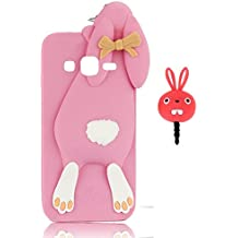 Vandot Fashion Case 3D Lovely Cartoon Buck Teeth Bunny Rabbit Rubber Series Soft Silicone Case Cover para Samsung Galaxy Grand Neo Plus DuoS I9060 Case, protección silicona resistente Carcasa Funda Tapa Silicona TPU caja del teléfono Cartoon Accessories Set Funny Buck Tooth Phone Case Skin Shell+ Red Rabbit tapón del enchufe