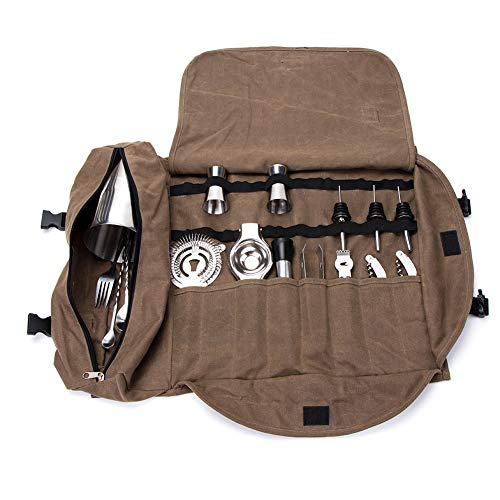 Hanshi super bartender kit roll bag, large cocktail set roll, waxed canvas bar set tool organizer secchio, cocktail tool roll up pouch, handy small tools tote carrier hgj285