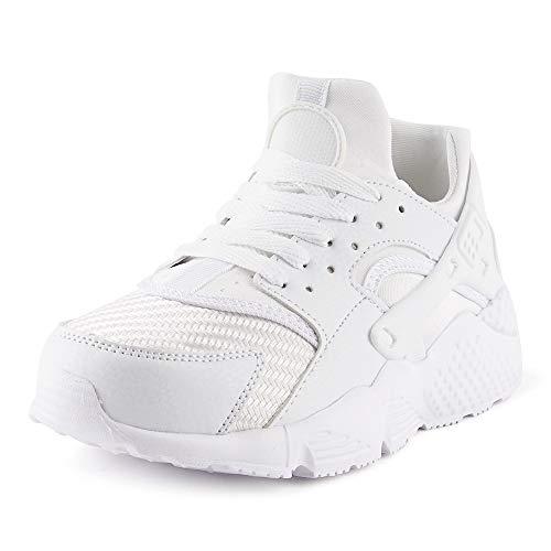 Fusskleidung Damen Sneaker Sportschuhe Textilschuhe Strick Laufschuhe Schnürschuhe Gym Low-Top Schuhe Weiss EU 38