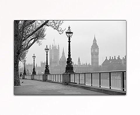 deinebilder24 - Leinwand-Bild - 70 x 110 cm - London Big Ben schwarz-weiss