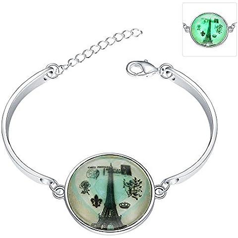 Nuevo diseño de vendimia de la joyería de plata brillo plateado en la torre de Eiffel de cabujón hecho a mano de vidrio oscuro y pulsera de señora de las mujeres de paz de