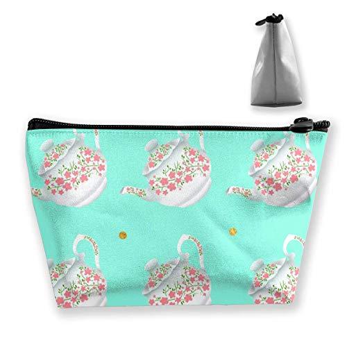 Kosmetiktasche Kosmetische Teekanne Blumenform Blau Tragbare Kosmetiktasche Mobile Trapez Aufbewahrungstasche Reisetaschen mit Reißverschluss