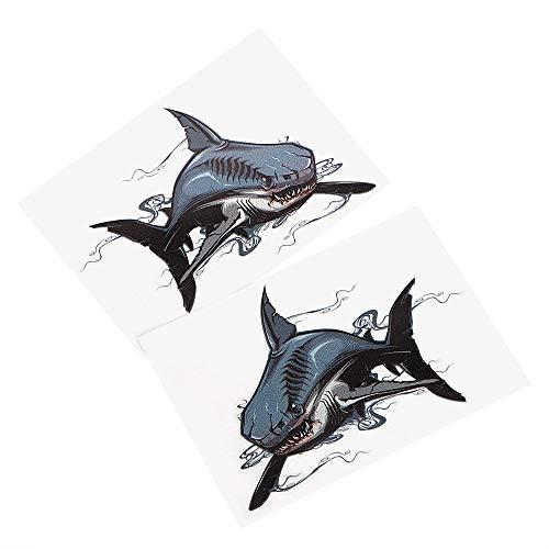 XIAOL Home 2 Teile/Satz Auto Aufkleber und Abziehbilder 14 * 9,5 cm Savage Shark Car Body Decor Außen Zubehör Auto Styling -