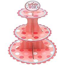 30 x 34 x 30 cm Geburtstage 2er-Pack Cupcake-St/änder aus Pappe 3-st/öckiger Dessertst/änder Cupcake-Turm Cupcake-Baum-Display f/ür Babypartys Gold und Silber Hochzeiten