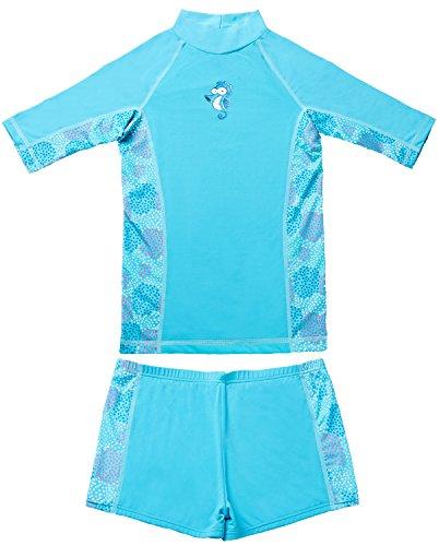 CharmLeaks Mädchen Schwimmbekleidung Bade-Set UV-Schutz Blau 5-6 Jahre