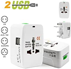 AlexVyan 2 USB Universal International Adapter World Wide Travel Power Plug With Built In Dual USB Charger Ports 100-240V Surge/Spike Protected Electrical Plug, European Adapter, Worldwide AC Outlet Plugs Adapters for Europe, UK, US, AU, Asia - White