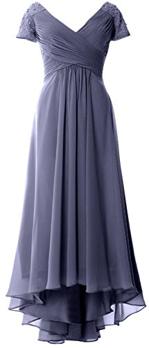 MACloth Cap Sleeves V Neck High Low Mother of Bride Dress Evening Formal Gown Steel Blue