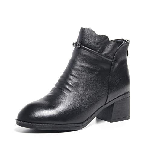 Wildleder Reißverschluss Elegant Runde Zehen Damen Stiefeletten,Black-EU:38=7.5B(M) US ()