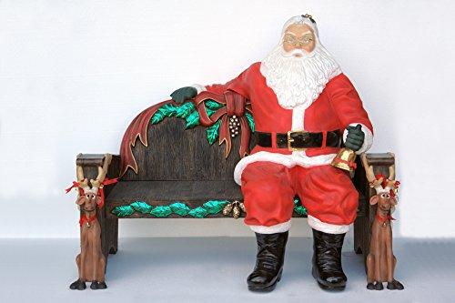 lebensgroßer Père Noël assis avec cloche sur Noël Banc en kit lebensgroß 169 cm pour l'extérieur en fibre de verre haute qualité plastique (GFK)
