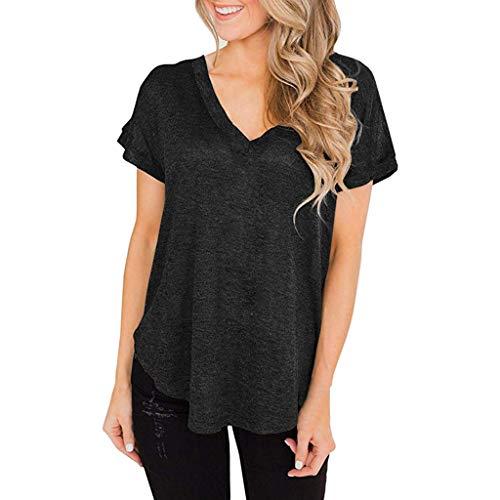 Damen Bandage Bluse AIchenYW T-Shirt Verband Shirt Kurzarm Rundhals Mode Schwarz Damen Damen Shirts SommerDamen Bluse Chiffon Elegant V-Ausschnitt