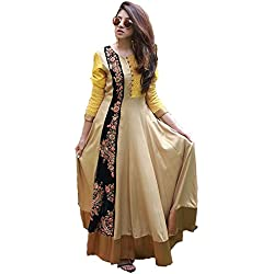Royal Export Women's Cotton Beige Anarkali Gown Type Suit
