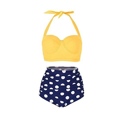 YZY Damen Bademode, Vintage Polka Dot hoch taillierte Push Up Badeanzüge Bikini Set (Farbe : 7, größe : XXXL) - 7 Badeanzug