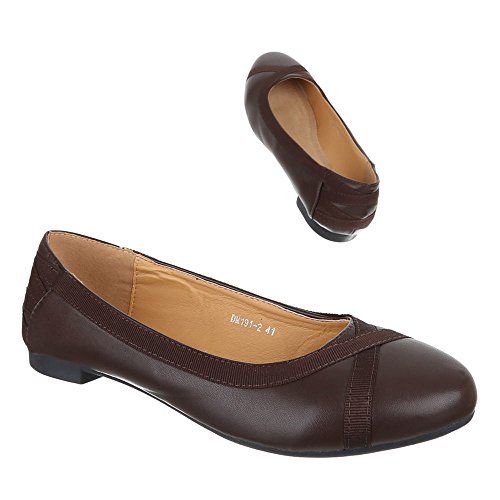 Damen Schuhe Halbschuhe Elegante Ballarinas Übergrößen 41 - 44 Braun
