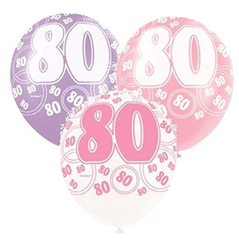 NANA'S PARTY Pink Glitz Latex-Luftballons mit Perlglanzeffekt, 30,5 cm, 6 Stück 80th Birthday/Age 80