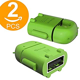 Act 2 Stück Micro USB OTG auf USB Adapter Micro USB Stecker OTG auf USB Buchse B Adapter USB On The Go Adapter (grün)