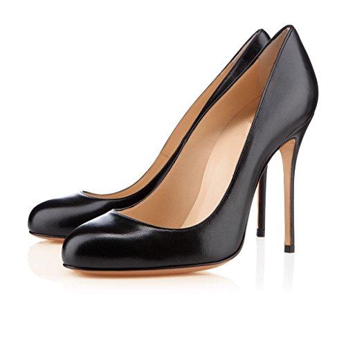Mermaid-Womens-Shoes-Stiletto-High-Heel-Gradient-Round-Toe-Pumps-Negro-46-Longitud-de-los-pies-295cm