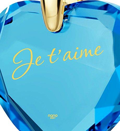 Pendentif Coeur - Bijoux Romantique Plaqué Or avec Je t'aime inscrit en Or 24ct sur un Zircon Cubique en Forme de Coeur, Chaine en Or Laminé de 45cm - Bijoux Nano Bleu Lagon