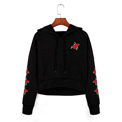 Holeider Damen Kapuzenpulli Embroidery Applique Langarmshirt Pullover Hoodie Sweatshirt Hemd Schwarz