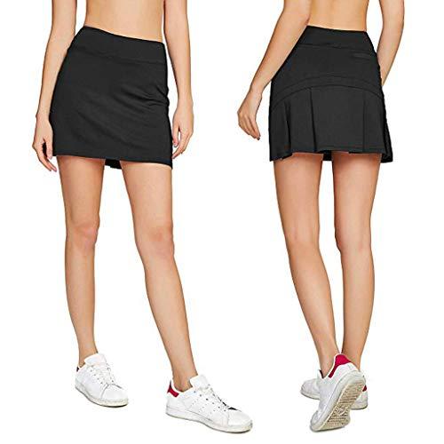 MERICAL Lässiger plissierter Damen-Tennis-Golfrock mit kurzen Shorts(Rot,Large)