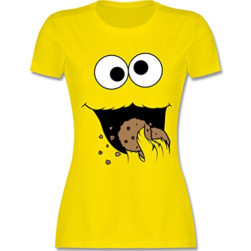 Karneval & Fasching - Keks-Monster - XXL - Lemon Gelb - L191 - Damen T-Shirt Rundhals (Cookie-gelb T-shirt)