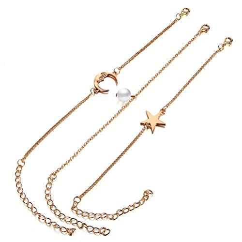LUOEM 3pcs Femmes Fille Bracelet Chaîne Bracelet Bracelet de Perle Star Lune Forme Bracklet Cheville Bijoux Accessoires De Mariage Cadeau D'anniversaire (Golden)