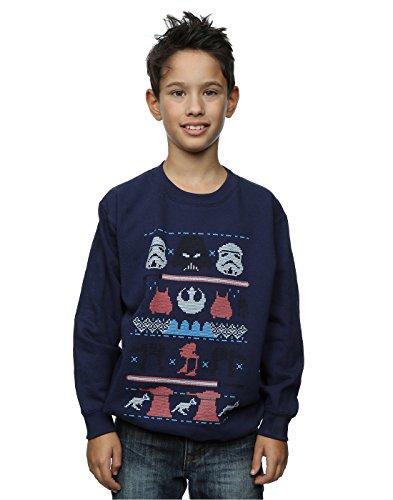 Star Wars Jungen Dark Side Fair Isle Christmas Sweatshirt 9-11 Years Marine (Jungen-fair-isle-pullover)