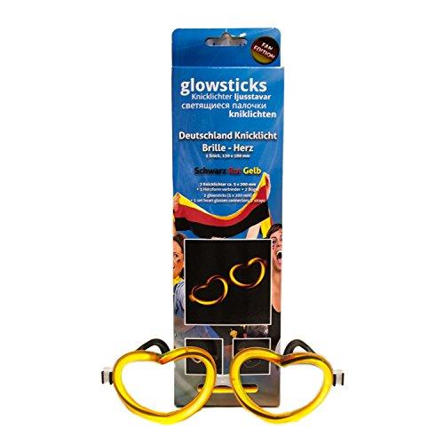 KNIXS 12ter Mann Deutschland-Fan-Knicklichtbrille schwarz/rot/Gold Ausstattung zur nächsten EM/WM, Arm-Knicklichter, Brillen, Markenqualität, Kunststoff, Gelb, 12 Einheiten