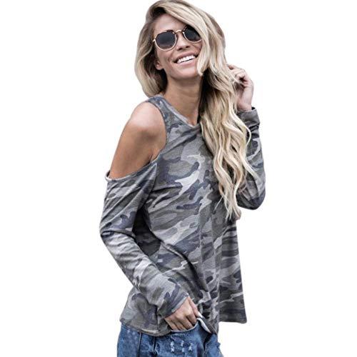 Lucky mall Frauen Schulterfrei Bluse, Camouflage Langarm-T-Shirt, Frauen Langarm Schulterfrei Camouflage Top