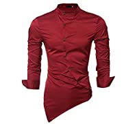 Tootlessly Men's Solid Stand Collar Slim Irregular Button Down Shirt M Red