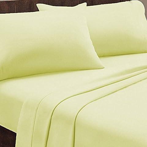 Housse de couette 260x240 cm flanelle couleur Jaune pâle + 2 taies d'oreiller 63x63 cm fabrication portugaise