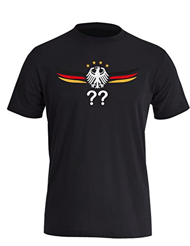 Deutschland Adler mit Flügeln Wunschnummer und Wunschname - Herren Rundhals T-Shirt Schwarz/W-Schwarz-Rot-Gelb