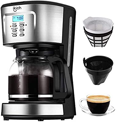 """Filter Coffee Machine, IKICH 12 Cup Coffee Maker, 24h Programmable Smart Drip Coffee Brewer with""""5+3"""" Unique Function Design, Glass Thermal Carafe, Permanent Filter and Stainless Steel Decoration from IKICH"""