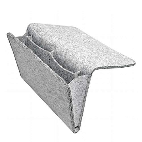 Yiqiane Aufbewahrungsbeutel Filz-Aufbewahrungskorb für das Bett, hängende Tasche in den Taschen für die Organisation von kleinen Dingen des TV-Fernbedienungs-Laptop-Buch-Zeitungstelefons für Zuhause -