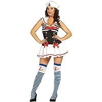 MalibuLove Costume Marinaio Sexy Donna Travestimento San Valentino  marinaretta Carnevale Halloween Cosplay Vestito Cappello Travestimento Donna 287c01f78868
