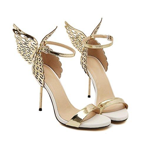 Frauen Schnalle Schmetterling Sexy High Heels Party Hochzeit Pumps Damen Elegante Engelsflügel Spitz Schuhe,Gold-EU39=245 (Prom Heel High Schuhe Sexy)