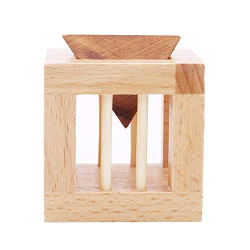YSINFOD Holz Denkaufgabe Spielzeug Classic Triangle Cage Lock Puzzle Pädagogisches Spielzeug Erforschen Kreativität und Problemlösung Spielzeug Für Erwachsene/Kinder (Für Denksport-spiele Erwachsene)