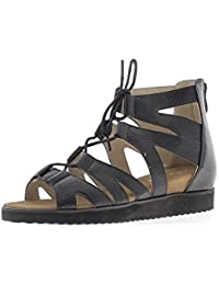 Sandales compensées noires à talons de 4,5cm look croco lacets et fermeture éclair