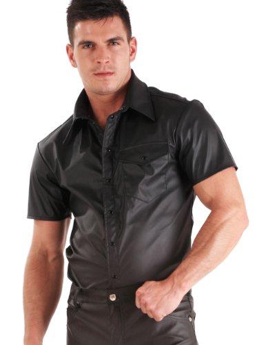 Kurzärmliges Kunstleder-T-Shirt - Größe XL (Vorderseite Auf Tasche Der Kragen)